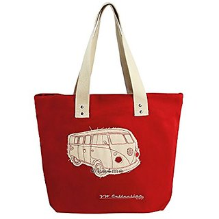VW Collection by BRISA Canvas Shopping Bag - Camper Bus Red - Official VW Licensed Product