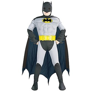 Muscle Chest Batman Halloween Costume-Medium Size (8-10)