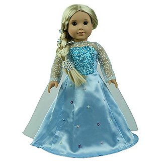 CNACCASU Elsa Shiny Princess Dress 3pc Jacket Skirt Cloak Outfit for 18 Inch American Girl Doll Clothes(FBA)