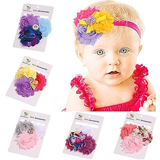 ROEWELL 5 Pcs Babys Headbands Girls Hair bows Hairband Head Wrap (5 Pack)