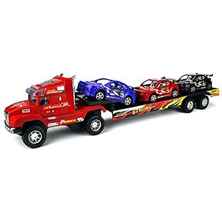 Deluxe Champion Big Childrens Kids Friction Toy Truck Ready To Run w 3 Toy Cars, No Batteries Required (Colors May Vary)