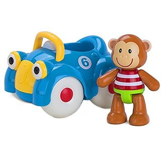 Pop Monty in his car and watch him race across the floor!-With clicking arms, legs and head, and soft rubbery ears.-Mon