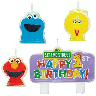 Sesame Street 1st Birthday - Molded Candle Set (4)