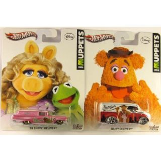 Bundle- 2 items, Hot Wheels: The Muppets 59 Chevy Delivery Kermit Ms. Piggy and Fozzie Bear Dairy Delivery