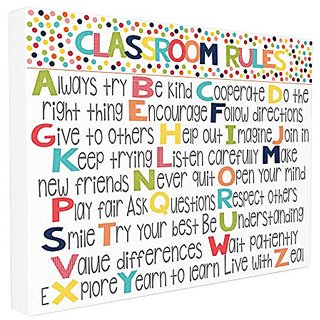 The Kids Room By Stupell Classroom Rules Colorful Alphabet Oversized Stretched Canvas Wall Art