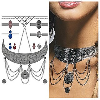 Tattify Silver Elephant Necklace Temporary Tattoo - Bali Sheet 2 (Set of 1 sheet) - Other Styles Available and Fashionab