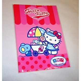 PINK NOTEBOOK PAPER-FULL PAGE OF STICKERS-NOTEBOOK IS 10 INCHES TALL BY ALMOST 7 INCHES WIDE.