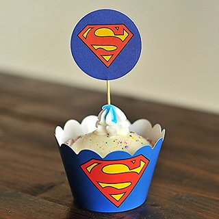 Winrase Set of 12 Chic Superman Diamond Kids Birthday Party Decoration Paper Cupcake Liner Wrap Wrappers with Toppers (1