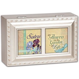Cottage Garden Sisters Are Champagne Silver Petite Music Box Jewelry Box Plays That�S What Friends Are For