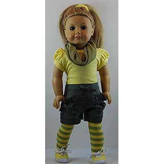 6 pc Yellow & Green Shorts Outfit includes Sneakers and fits 18 inch American Girl dolls.