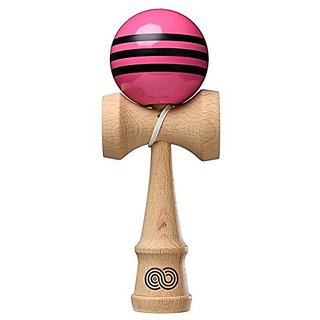 Kendama USA - Kaizen Triple Stripe - Pink with Black Triple Stripe - Gloss