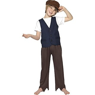Smiffys Victorian Poor Boy Childrens Fancy Dress Costume Peasant Large