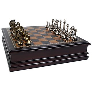 Metal Chess Set With Deluxe Wood Board and Storage - 2.5