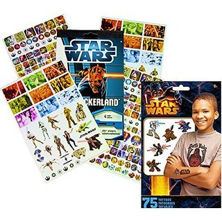 Star Wars Stickers & Tattoos Party Favor Pack - 275 Stickers & 75 Temporary Tattoos.-Colorful stickers & temporary tatt