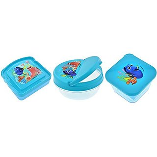 Disney FINDING DORY 3 PC Kids Lunch Box Reusable Sandwich and Snack Containers