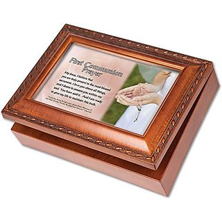 First Communion Prayer Cottage Garden Wood Grain Finish Jewelry Music Box - Plays Song Ave Maria