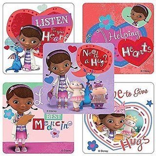 Doc McStuffins Valentines Day Stickers - Birthday and Theme Party Favors - 75 per Pack-Just what the doctor ordered to