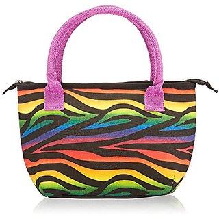 Fit & Fresh Kids Alyssa Insulated Lunch Bag with Zippered Closure, Rainbow Zebra