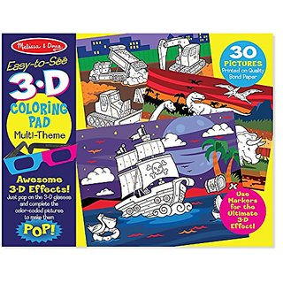 Melissa & Doug Easy-to-See 3-D Coloring Pad - Dinosaurs, Knights, Space, and More