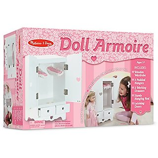 Melissa & Doug White Wooden Doll Armoire Closet With 2 Hangers (12 x 20 x 9 inches)