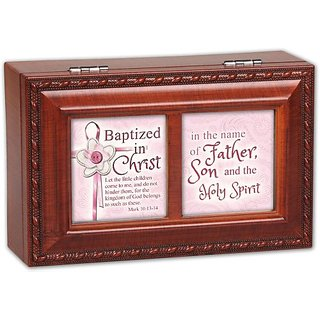 Cottage Garden Batized In The Name Woodgrain Petite Music Box Jewelry Box Plays Jesus Loves Me