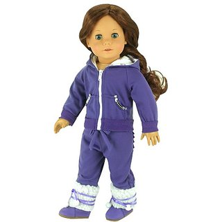 18 Inch Doll Outfit, 2 Pc. Set Fits American Girl Dolls, Hooded Purple Sparkle Capri Doll Sweatsuit