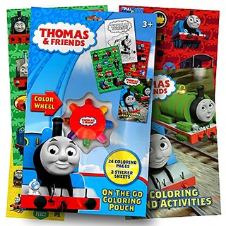 Thomas the Train On the Go Coloring Pouch Activity Set With Stickers, Coloring Pages, and Coloring Wheel - Includes 1 bo