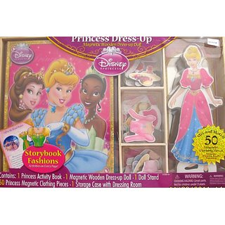 Disney PRINCESS CINDERELLA 50 Piece Dress Up MAGNETIC WOODEN DOLL & Book Set w Dressing Room & Storage Case (2011)