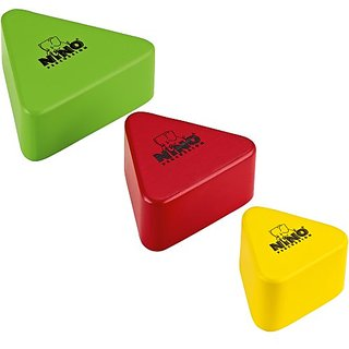 Nino Percussion NINO508-MC Triangular Multi-Color Wood Shakers, Set of 3