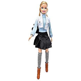 Damara Children Sweater Skirt Vest Boots Set For Doll