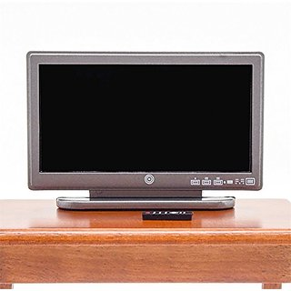 Odoria 1:12 Miniature Television TV Wide Screen with Remote Control Dollhouse Furniture Accessories
