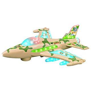 ToyZe F16 Airplane Fighter Jet Military Toy, with Lights and Sound, Bump and Go Action