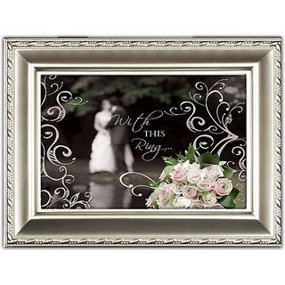 Cottage Garden With This Ring Wedding Champagne Silver Music Box Jewelry Box Plays Unchained Melody
