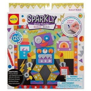 Sparkly sticker picture Craft Kit for kids-Layer glittery sticky foam pieces to create sparkly 3D pictures-Includes gli