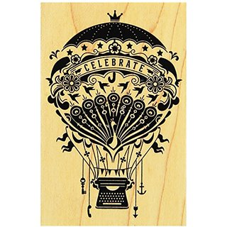 Inkadinkado Mindscape Hot Air Balloon Mounted Rubber Stamp, 2.75