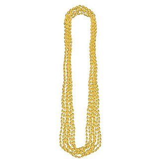 Amscan Party Perfect Team Spirit Metallic Bead Necklace (8 Piece), Gold, 17 x 2.5