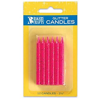Oasis Supply Glitter Birthday Candles, 2.25-Inch, Pink