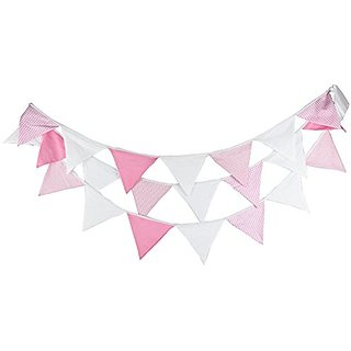 Pink & White Vintage Fabric Flag Buntings Garlands Wedding Birthday Party Decoration