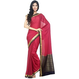 Sudarshan Silks Maroon Self Design Synthetic Saree with Blouse