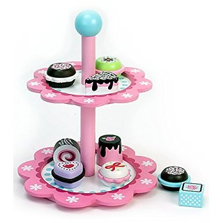 Childrens Wooden Play & Pretend Food Set, Dessert Stand with Delicious Treats! Wood Play Food- Desserts on Display Stand