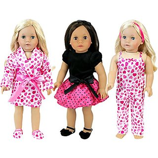 Doll Dress and Pajama Set with 7 Pieces, Complete Set Includes Heart Pjs, Slipper and Robe Plus Black and Pink Party Dre