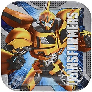 Amscan Mighty Transformers Birthday Party Square Dessert Plates Tableware (8 Pack), 7
