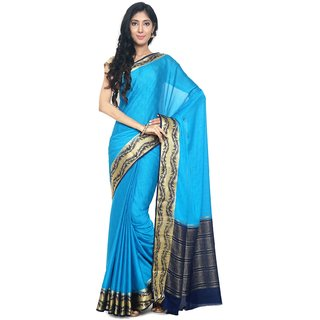Sudarshan Silks Blue Self Design Synthetic Saree with Blouse