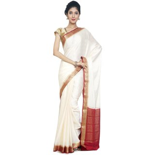 Sudarshan Silks White Self Design Synthetic Saree with Blouse