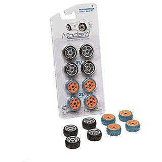 Modarri-The Ultimate Toy Car; Constructive, Mix N Match, Indoor outdoor Performance Wheel Pack Orange and Silver