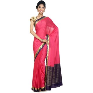 Sudarshan Silks Pink Self Design Synthetic Saree with Blouse