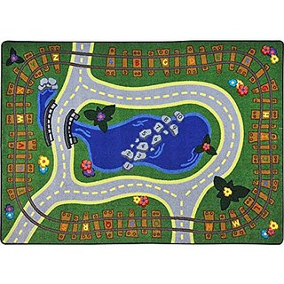 Joy Carpets Kid Essentials Early Childhood Alphabet Express Rug, Multicolored, 109