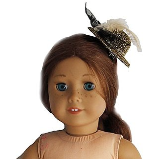 BUYS BY BELLA Gold Feather Glittery Hat for 18 Inch Dolls Like American Girl