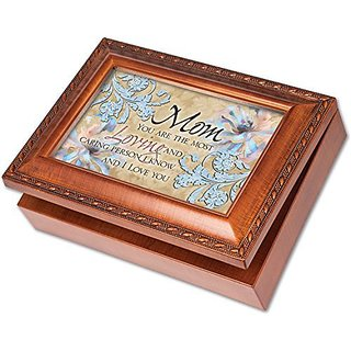 Mom You are the Most Loving Cottage Garden Champagne Silver Silver Jewelry Music Box - Plays Song You Light Up My Life