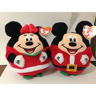 NEW 2013 Ty Beanie Ballz Mickey Mouse & Minnie Mouse Christmas 5.5